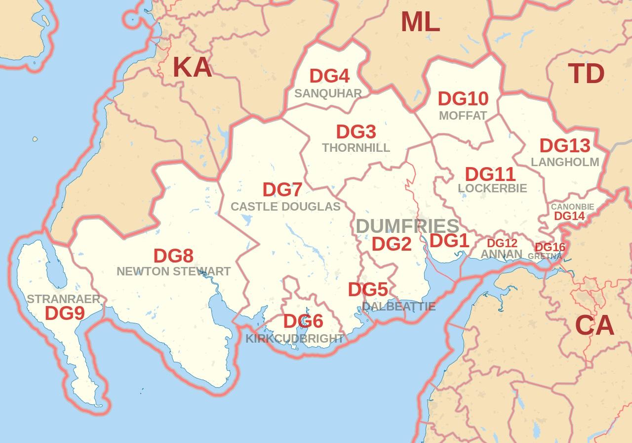 Dumfries and DG postcode area map